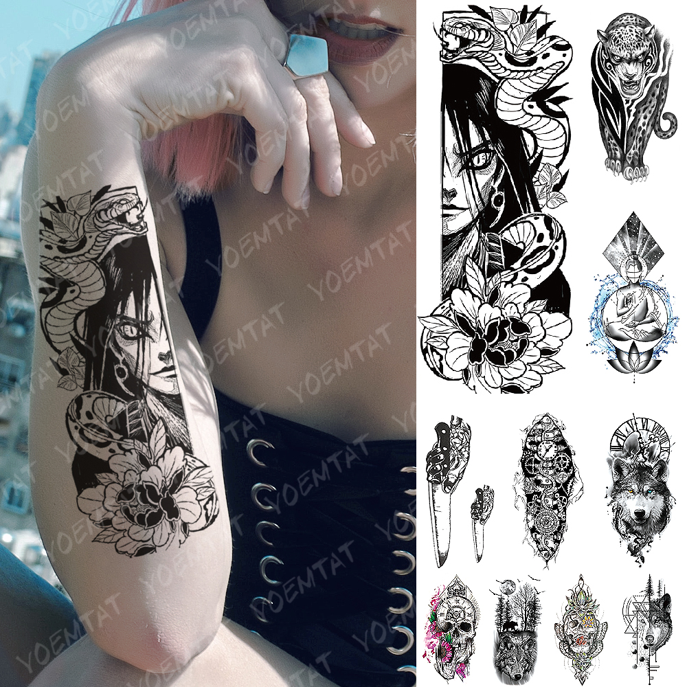 Waterproof Temporary Tattoo Sticker Kurama Naruto Orochimaru Snake Flash Tattoos  Old School Body Art Arm Fake Tatoo Women Men