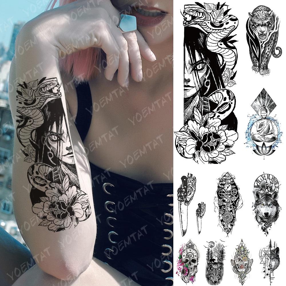 Waterproof Temporary Tattoo Sticker Kurama Naruto Orochimaru Snake Flash Tattoos  Old School Body Art Arm Fake Tatoo Women Men