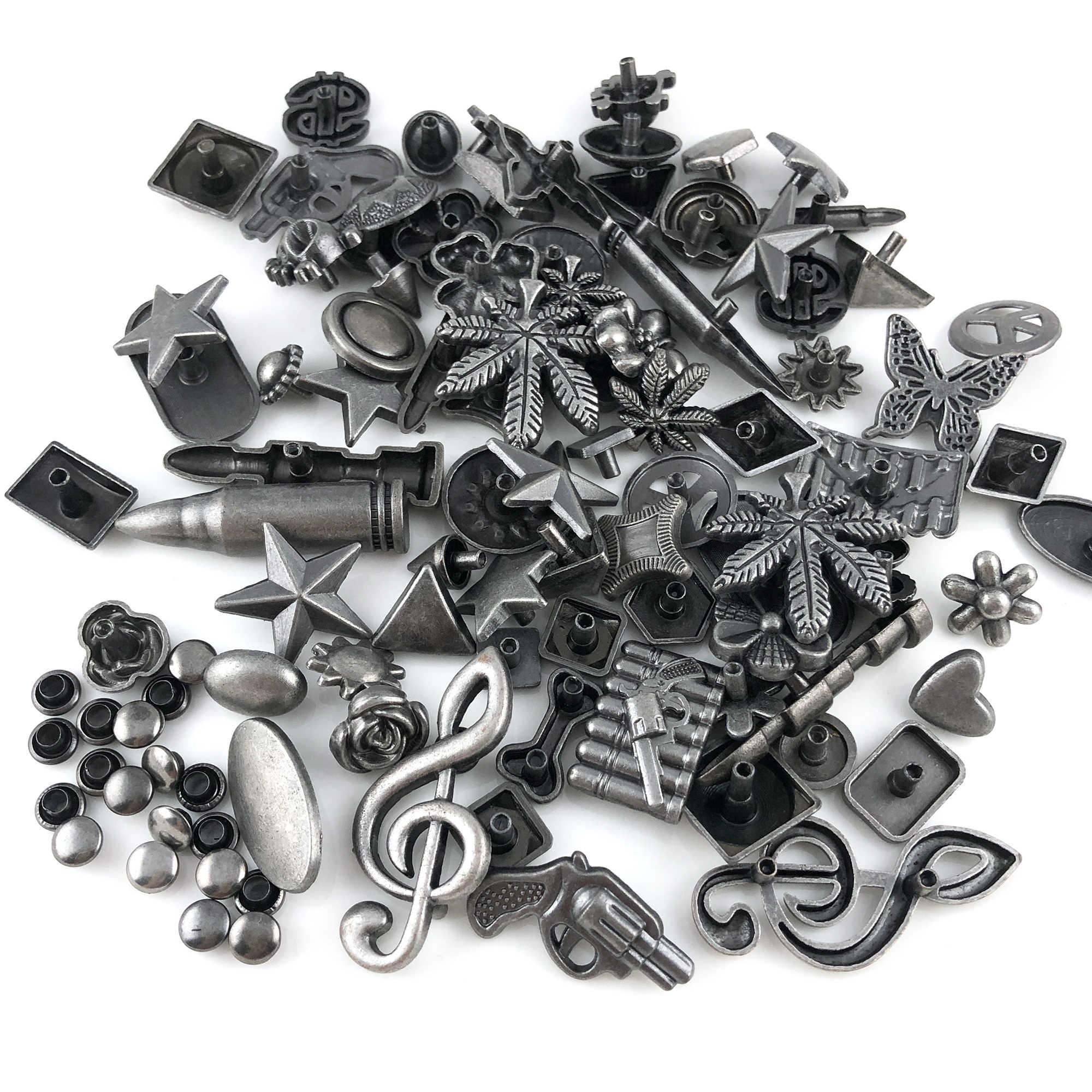 Gemengde Antiek Zilver Plated Studs Punk Rivet Studs Leren Craft Accessoires Fit Voor Riemen Schoenen Tassen Diy Maken Verkopen Door gewicht