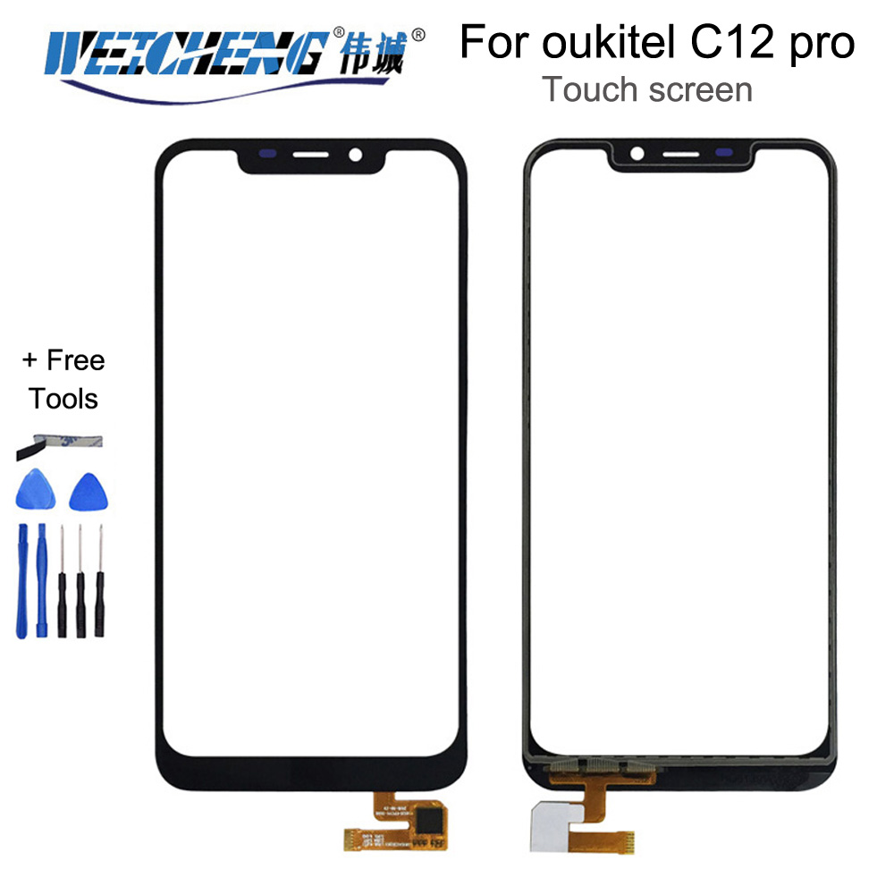WEICHENG 100% Tested New For Oukitel C12 Pro Touch Screen Lens Sensor Touch Panel Replacement C12pro C 12 Screen +tools