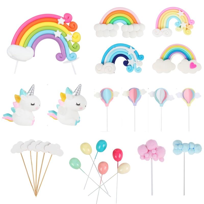 rainbow multi color cloud cupcake topper girls unicorn birthday party cake flags tag decor wedding dessert baking cake top deco