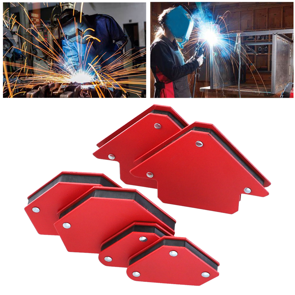 6pcs Professional Without Switch Red Super Magnetic Soldering Positioner Welding Locator Mini Triangle Home Fixed Angle Metal