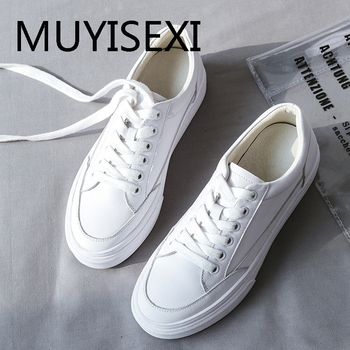 Lady genuine leather lace up white sneakers round toe 6cm bottom simple style loafers daily wear vulcanized shoes AM10 MUYISEXI