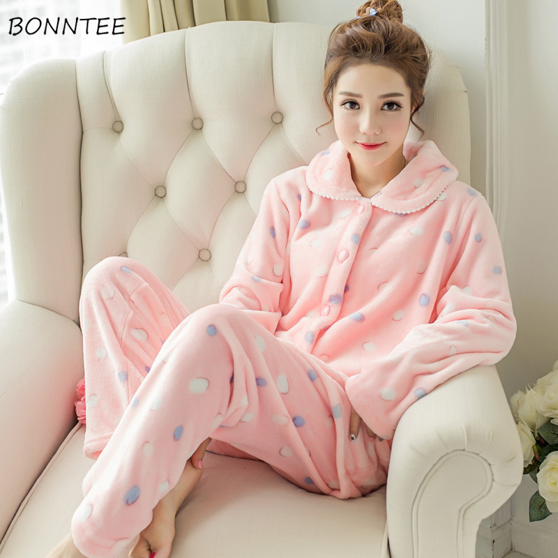 Pajama Sets Women Sleepwear Winter Printing Home Clothes Kawaii Pink Comfortable Plus Size Womens Clothing Long Sleeves Korean