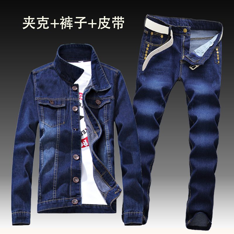 2019 Autumn New Mens Denim Jacket Jeans Pants Slim Fit Pencil Pant Long Sleeve Coat Long Trousers 2pcs Set Size S-3XL For Male C