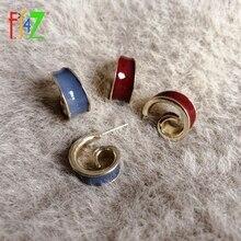 F.J4Z New Chic Earrings for Women Brand Curly Alloy Enamel Anti-allergy Stud Earring Minimalist Ladies Jewelry Gifts Dropship