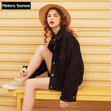 Metersbonwe jean jacket para mulher turn-down collar solto preto moda feminina casacos outwear denim feminino casual sty(China)