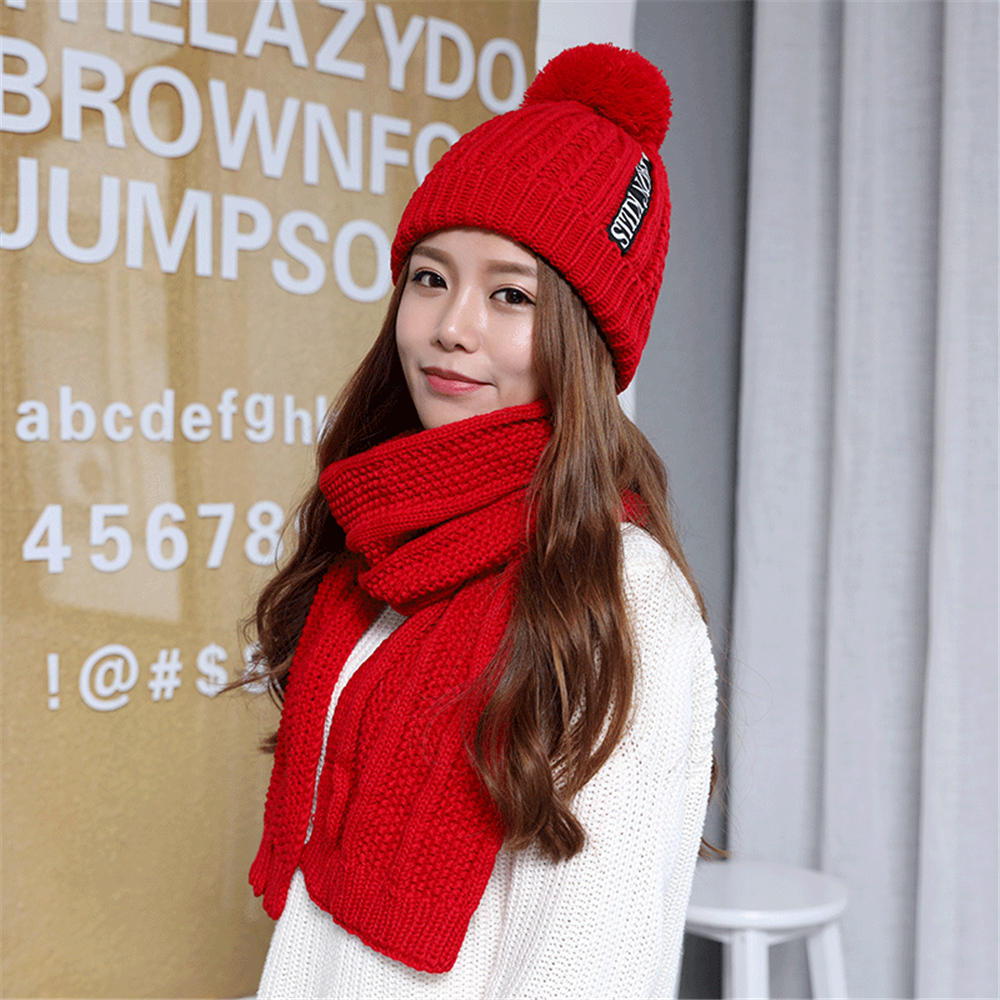 Tsuretobe Winter Knitted Hats Scarf Set 2 Pieces Women Letter Warm Wool Beanie Cap And Long Crochet Shawl Scarf For Female