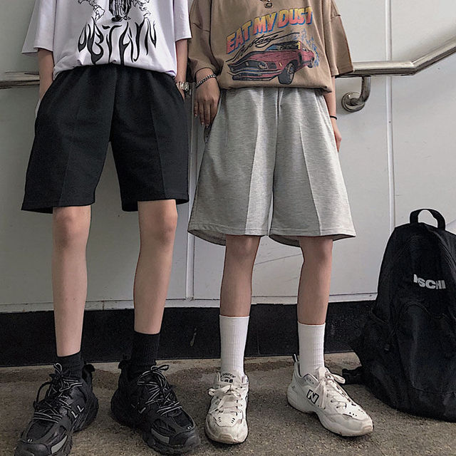 2020 Women Five Pointed Shorts Solid Black Grey Wide short Pants Unisex Students Casual Oversized Streetwear Hip Hop Punk Style 2