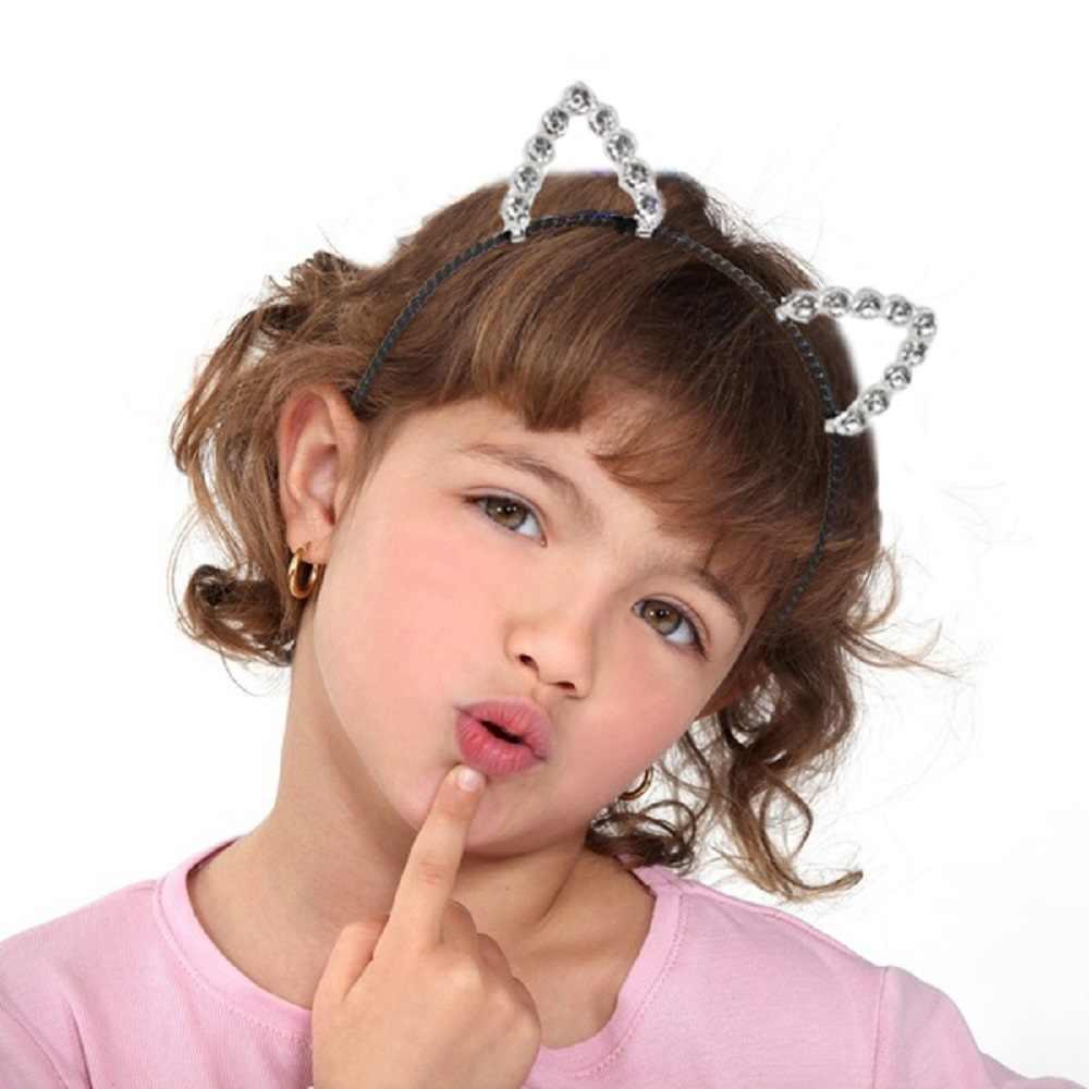 Thời Trang Tai Mèo Dễ Thương Trẻ Em Đầu Ngọc Trai Pha Lê Đô Lễ Hội Bé Gái Ren Nữ Cô Gái Mũ Trùm Đầu