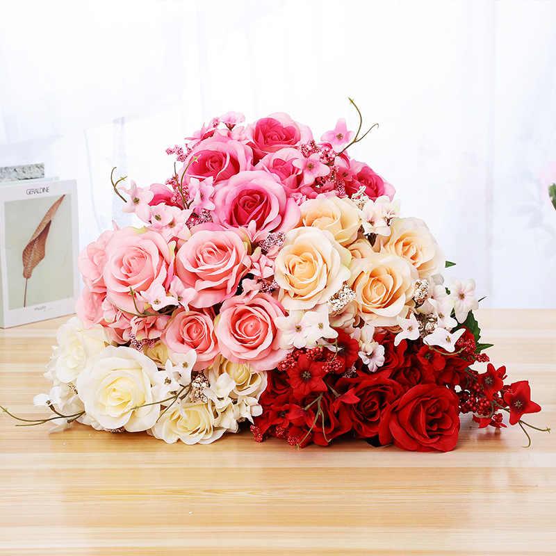 11 Flowers Fake Roses Simulation Flower Wedding Decoration Flower Bouquet Foam Spike Match French Rose Bouquet Decoration 50 Cm Artificial Dried Flowers Aliexpress