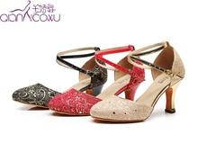 цена на Customize Jazz Salsa Ballroom Latin Dance Shoes For Dancing Women Black Urban Female Heel Pointe 1017 Pumps Glitter Black Red