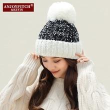 цена на Women Beanies Hats PomPoms Ball Winter Hats for Men Women Cotton Blended Hip Hop Caps Warm Hat Unisex Winter Cap Bonnet Hats