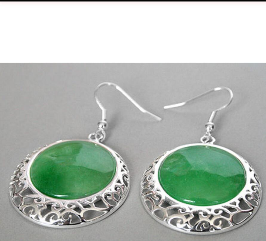 Details about  /ORIENTAL STYLE GREEN QUARTZITE EARRINGS IN 925 STERLING SILVER