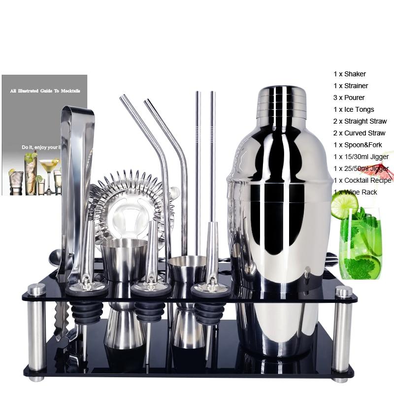 IYouNice 1-15Pcs/set Premium Barware Set Stainless Bar Cocktail Shaker Set Bartender Kit Shakers Bar Tools With Wine Rack Stand