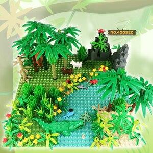 Image 2 - Juego de bloques de construcción Compatible con todas las marcas, árbol de hierba Animal de la selva tropical, con placa base, accesorios MOC de ciudad, piezas DIY