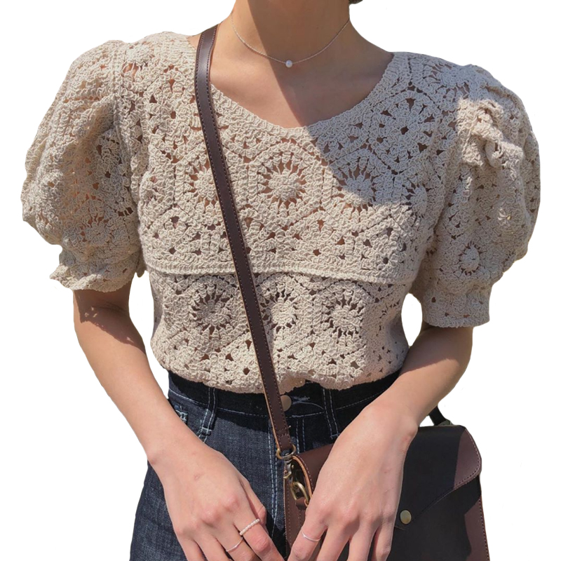 2020 New Vintage Summer Tops Women Puff sleeve Hollow out shirt Female Retro Perspective Lace blouse Blouses & Shirts  - AliExpress