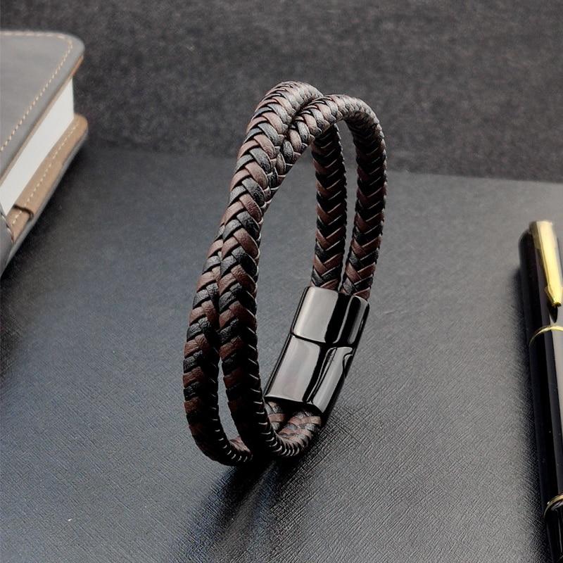 Bracelet en titane et acier, Double couche, marron et noir, corde tressée, de haute qualité, en acier inoxydable, magnétique, idée cadeau pour femmes 2