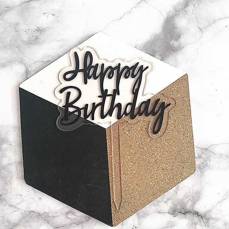 Double Layerโปร่งใสอะคริลิคเค้กวันเกิดแฮปปี้Topperเด็กอุปกรณ์ตกแต่งห้องอาบน้ำฝักบัว6สี