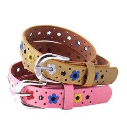Cinturón de piel sintética con flor hueca para mujer, cinturón para chicas y niños Vintage, con hebilla de Pin plateado, cinturón de flores coloridas para mujer