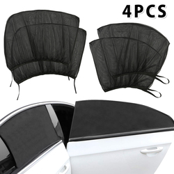 4 pcs Summer UV Protection Car Front Rear Back Side Window Sun Shade Anti-mosquito Sunshade Net Mesh Curtain for Sedan SUV MPV