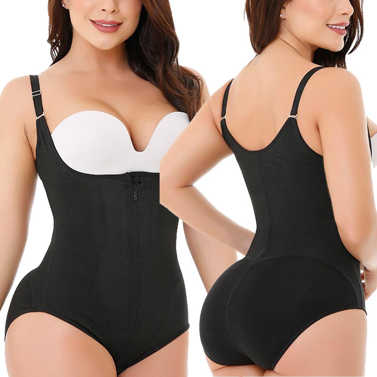 Bodysuit Shapewear Women Latex Waist Trainer Slim Zipper And Hook Shapewear Open Bust Corset Tummy Control Shaper TrimmerBodysuits   -
