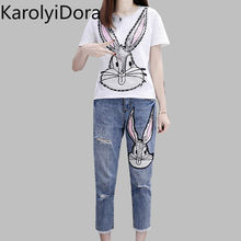 2020 Spring Summer Women White Sequins T Shirts Pants Suits Casual Cratoon Printed Cotton Tshirt And Hole Denim Trousers Set(China)