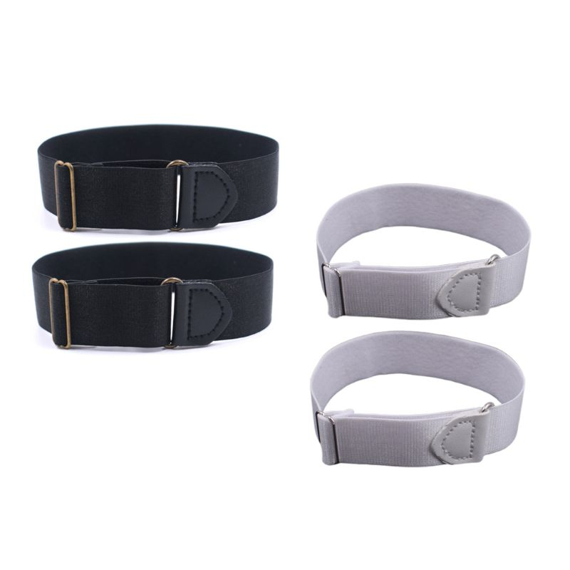 2x Mens Groom Shirt Sleeve Holder Metal Anti-slip Straps Elastic Stretch Armband