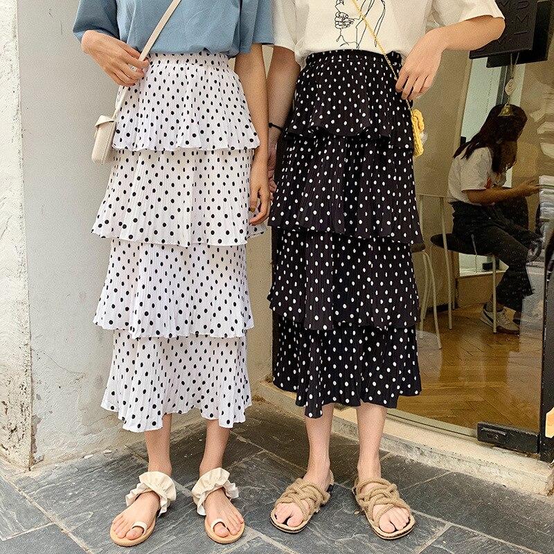 Xy2019 Summer Wear Korean-style Large Size Dress New Style Fat Mm Slimming Loose-Fit Versatile Polka Dot Cake Skirt
