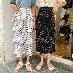 Xy2019 ropa de verano estilo coreano vestido de gran tamaño nuevo estilo de grasa Mm adelgazamiento suelto versátil Polka Dot pastel falda