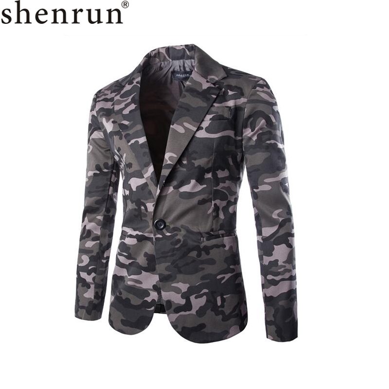 Shenrun Men Jacket Casual Blazers Fashion Camouflage Military Style Grey Blazer Slim Fit Olive Green Gray Jackets Stage Dress