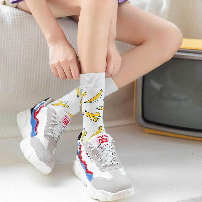Korean style fashion Harajuku street hip hop socks unisex Funny Men Socks happy skateboard flame Women socks