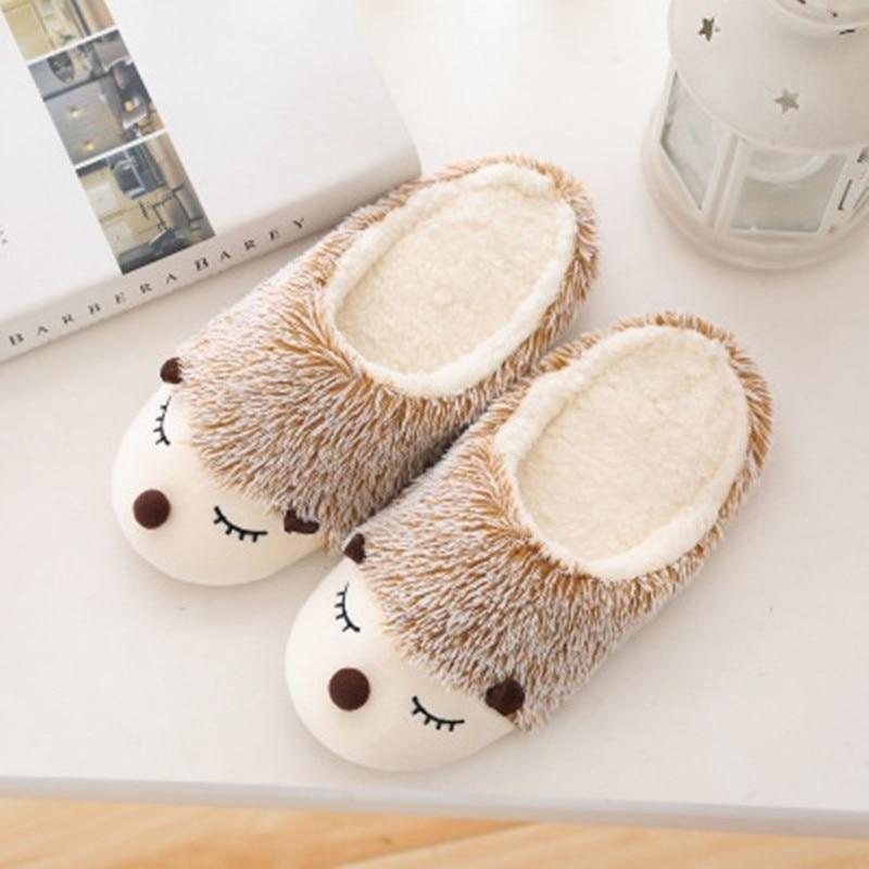 FAYUEKEY 2020 Autumn Winter Cartoon Animals Home Cotton Plush Warm Slippers Women Indoor Floor Flat Shoes Girls Christmas Gift 2