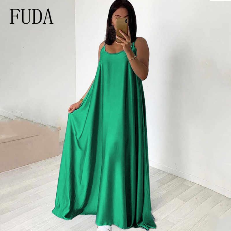 FUDA, Золотое сатиновое свободное макси платье, женское, длинное, сексуальное, на бретельках, с открытой спиной, красные, зеленые, вечерние, для ночного клуба, шелковые платья-комбинация, Vestidos