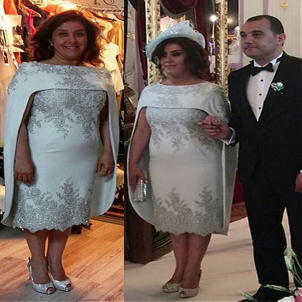 Plus Size 2020 Mother Of The Bride Dresses Sheath Knee Length Appliques Beaded Short Groom Mother Dresses For Weddings