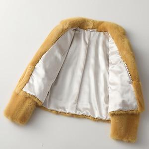 Image 3 - Zimowa skóra prawdziwe futro z norek moda damska krótkie futra z norek luksusowa wysokiej jakości ciepła gruba naturalna wąska bluza