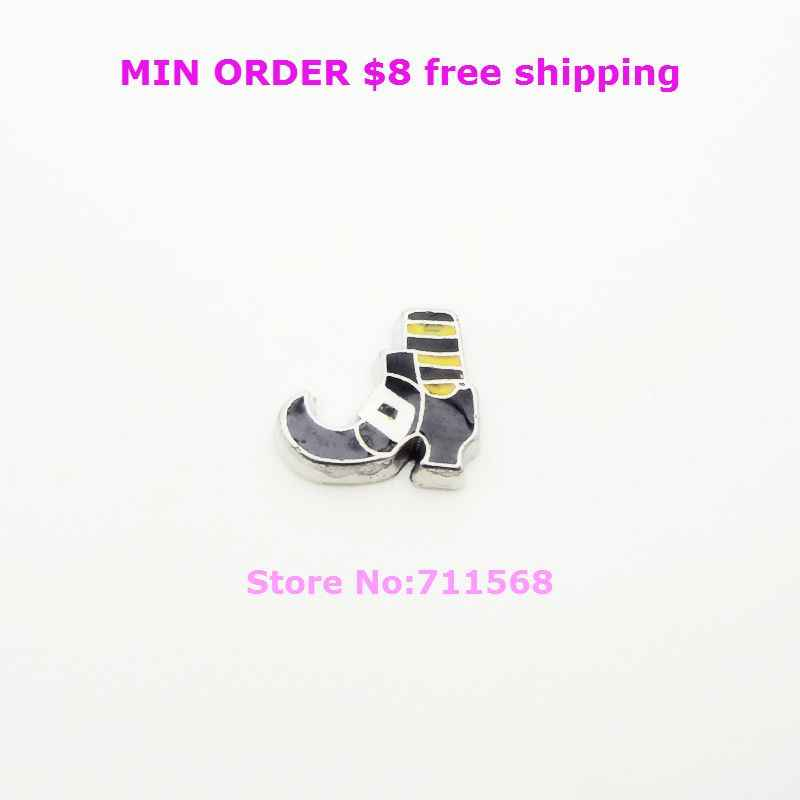 Witch Leg Floating Charms Halloween Witch's Boot Floating Locket Charms For Living Glass Locket DIY Accessories