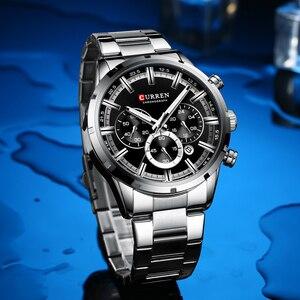 Image 5 - Curren luxo moda quartzo relógios clássico prata e preto relógio masculino relógio de pulso masculino com calendário cronógrafo