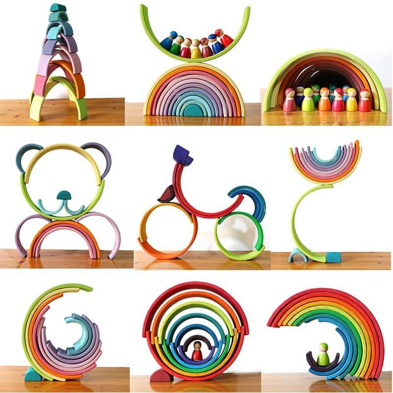 Giocattoli Per Bambini di Grandi Dimensioni Arcobaleno Stacker Giocattoli In Legno Per Bambini Creativo Arcobaleno Building Blocks Montessori Giocattolo Educativo Per Bambini