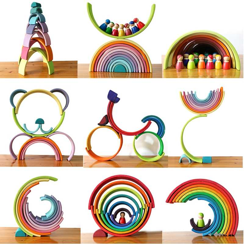 Juguetes de madera de apilador de arco iris grande para niños, bloques de construcción de arco iris creativos juguete educativo Montessori niños