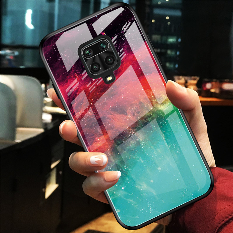 For Xiaomi Redmi NOTE 9s Gradual Change Tempered Glass Phone Case for Xiaomi Redmi note 9 pro max Soft Frame Hard Back Covers