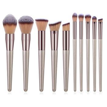 10pcs Champagne Makeup Brushes Set Foundation Powder Blush Eyeshadow Concealer Lip Eye Make Up Brush Cosmetics For Make Up Tools