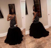 Потрясающее Черное вечернее платье Русалка с блестящими кристаллами