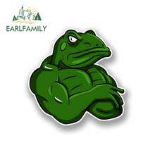 EARLFAMILY 13cm x for Cartoon Moody Muscle Frog Funny Car Stickers Waterproof Anime Bumper Trunk Truck Graphics Accessories