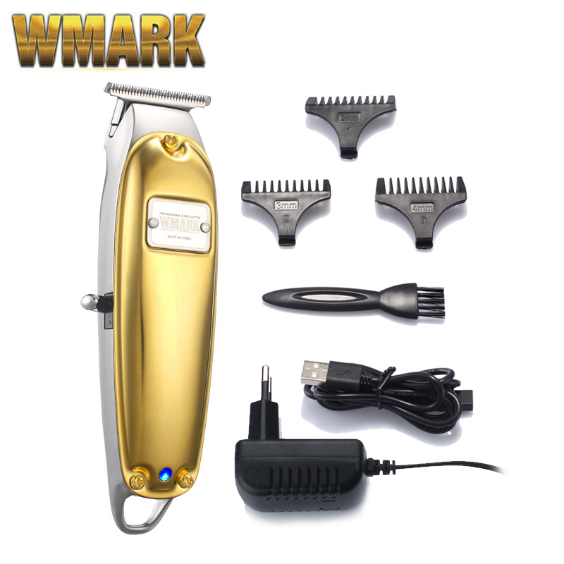 WMARK All-metal Cordless Detail Triimer NG-2021 With T-blade, 3 Trimming Guides Detailer USB Charge 1400mAh High Speed Motor