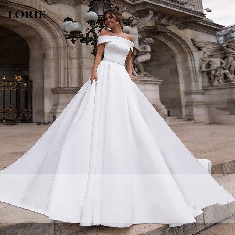 LORIE Satin Wedding Dresses Off The Shoulder Bride Gown With Beaded Sash Wedding Gown Covered Back Vestido De Novia 2019