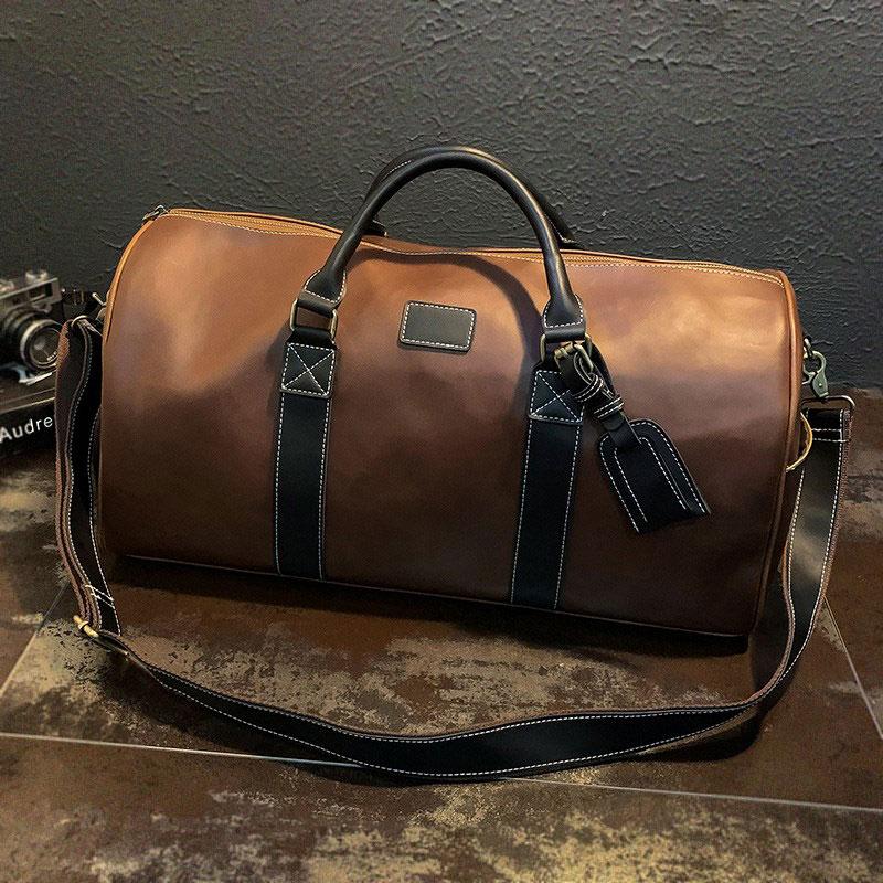 Waterproof PU Leather Gym Bag Fitness Handbag Journey Travel Bags Sports Shoulder Tote For Shoes  Tas Sac De Sporttas XA222D