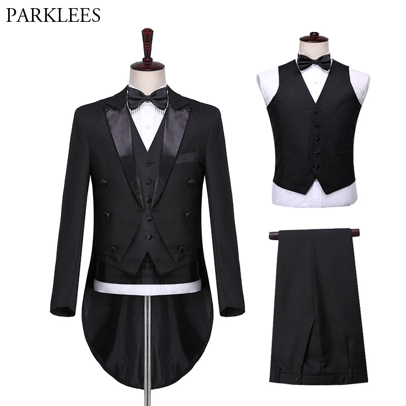 Men's Elegant Bridegroom Black Morning Suit Double Breasted Slim Fit 4 Pieces Tuxedo Suits For Male Groomwear Terno Masculino
