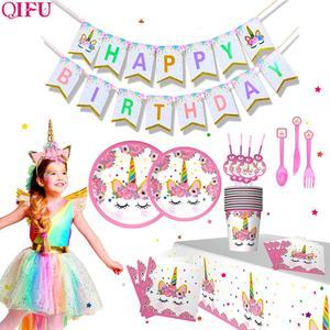 Image 5 - QIFU Единорог товары для вечеринок одноразовая посуда единорог украшение для дня рождения первый мой маленький пони день рождения девочка мальчик Единорог
