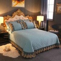 Nuevo Color sólido acolchado cubrecama de encaje + Fundas de almohada Thicken franela terciopelo vellón funda de cama sábana Funda de colchón juego de cama